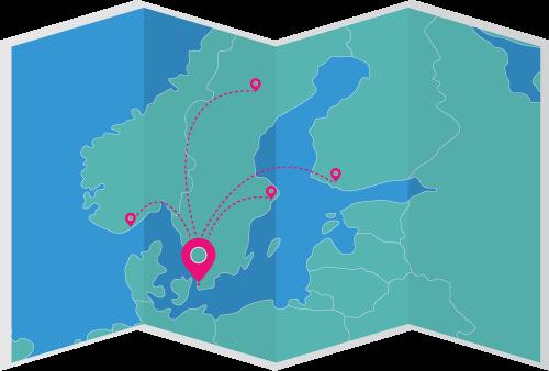 Karta över Bredband2s datahall och datacenters strategiska placering