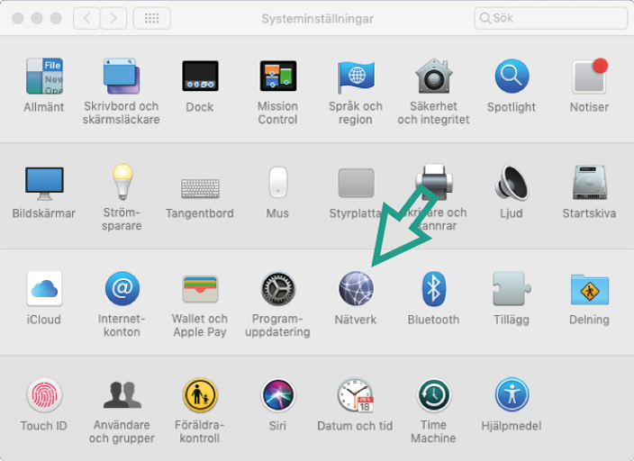 Skärmbild av hur du hittar nätverk på Mac OS-datorer
