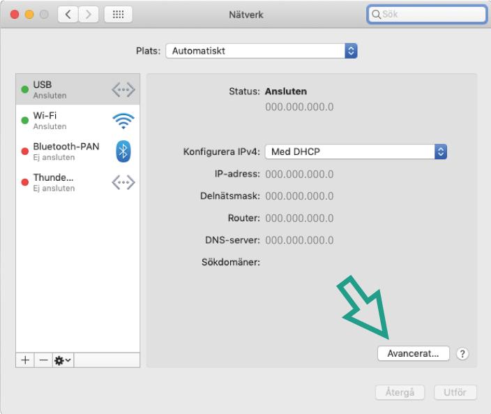 Skärmbild av hur du hittar din mac-adress på Mac OS