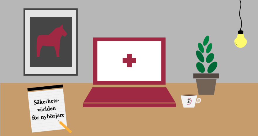 Illustration av ett skrivbord med dator, block, lampa, kopp, växt och en tavla för att symbolisera en säkerhetsordlista.