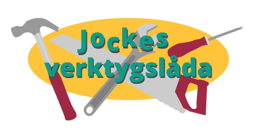 Illustration av en hammare, såg och skruvmejsel för att liknaJoakim Jardenbergs verktygslåda för hur en blir en omvärldsbevakare.