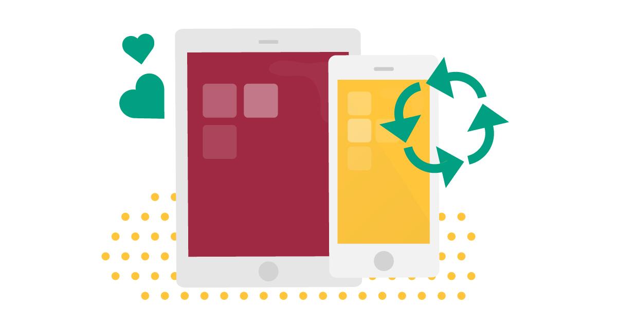 Illustration av en ipad och en mobiltelefon med en återvinningssymbol.