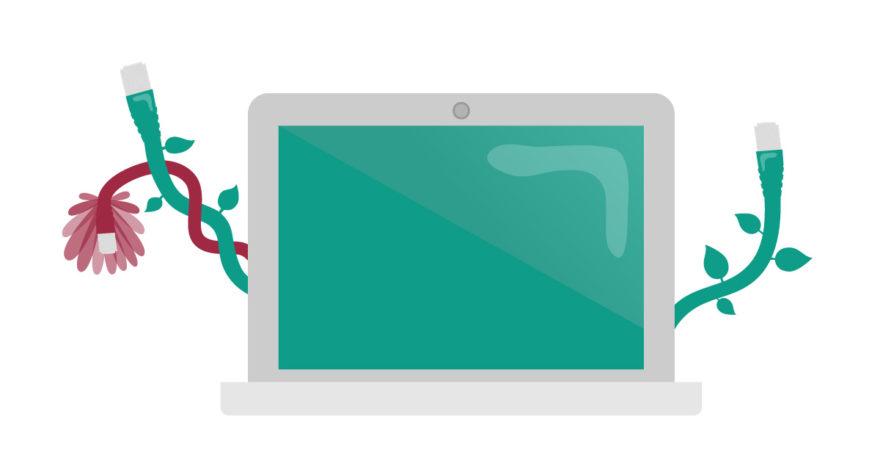 Illustration av en dator med nätverkskablar som växer ut från sidorna. Bilden symboliserar hållbarhet och hur du kan ta hand om din datorutrustning.