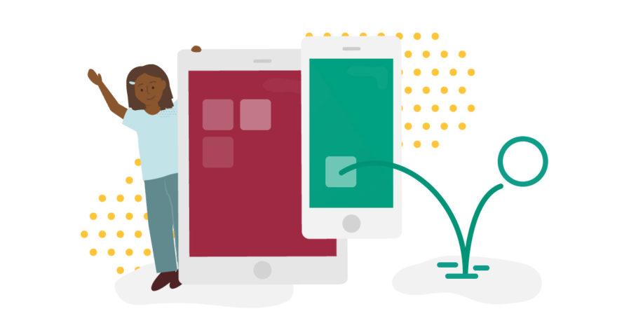 Illustration av barn och appar för digitalt spelande