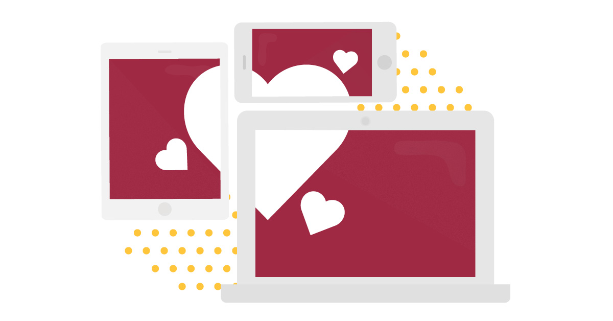 Netikett - så beter du dig på nätet. Illustration av dator, platta och telefon och hjärta.