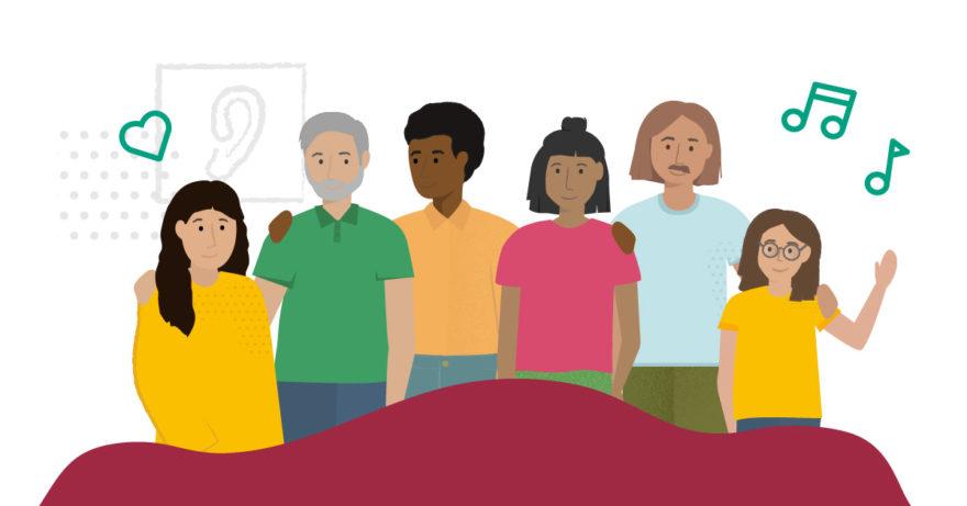 Alla har rätt att funka olika. Illustration av sex personer som lyssnar på musikhjälpen.