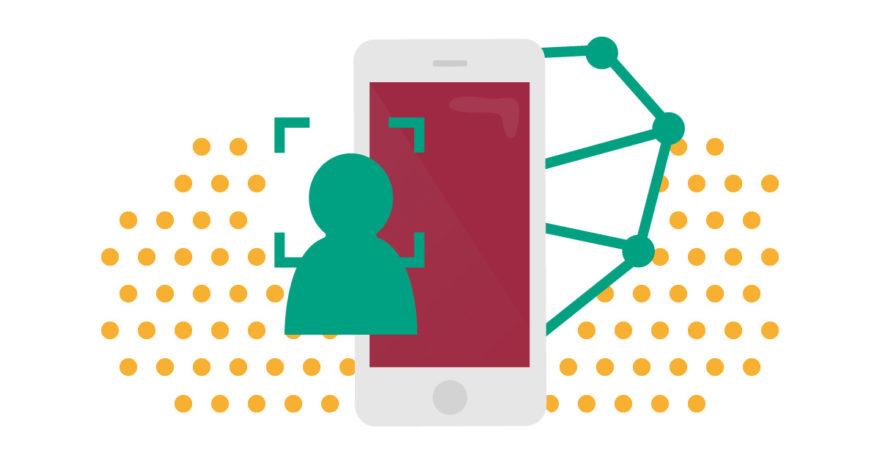 Illustration av mobil och personikon som gestaltar ansiktsigenkänning.