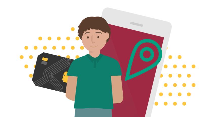 Illustration av pojke, chip, telefon och platsfunktion. Han använder en smart skoluniform.