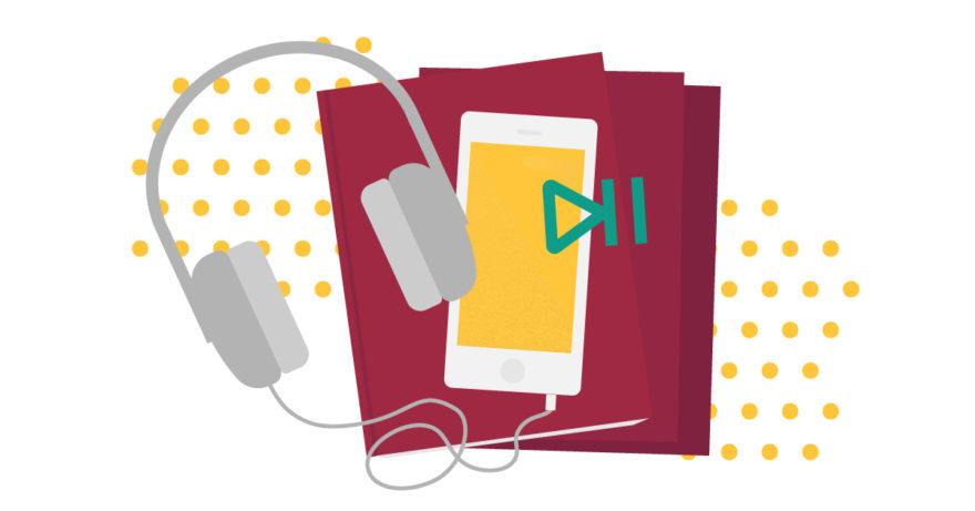 Illustration av hörlurar, böcker och telefon som visar boktips