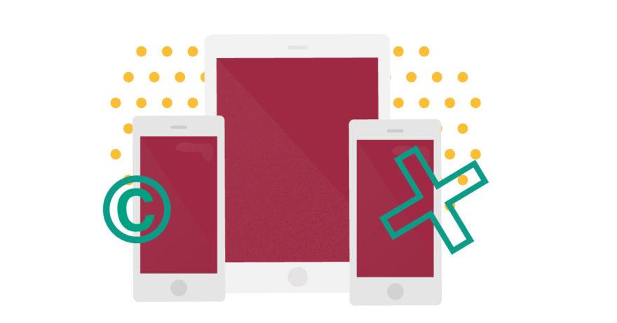 Illustration av mobiltelefon och surfplatta som gestaltar artikel 11 och 13