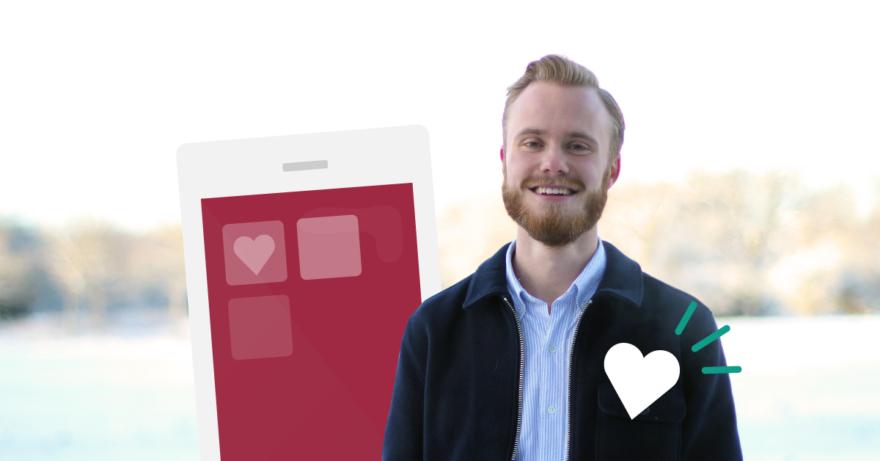 Bild på medgrundaren Jakob Gelberg från Bigheart och en illustrerad mobiltelefon i bakgrunden.