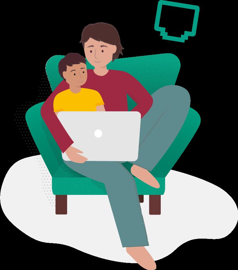 Illustration av ett barn som sitter i sin förälders knä i en fåtölj och surfar med fiber via bredband på sin dator.