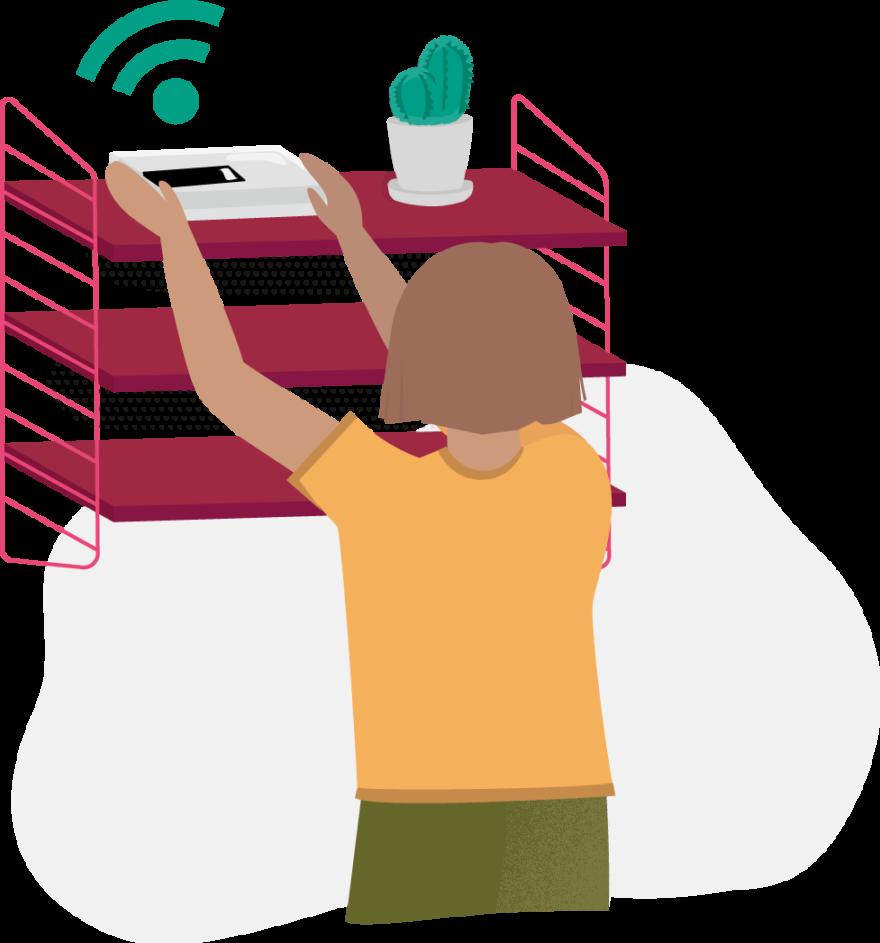 En illustrerad person placerar en WiFi-router högst upp på en vinröd stringhylla bredvid en kaktus