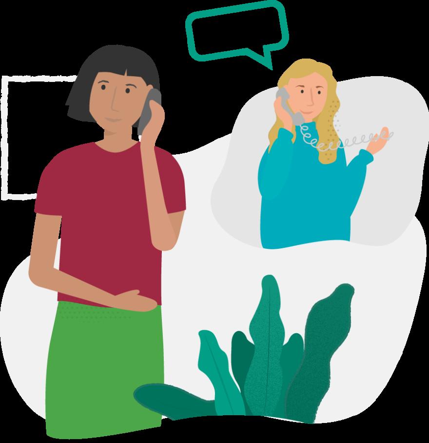 Två kvinnor samtalar med varandra genom Bredband2:s IP-telefoni