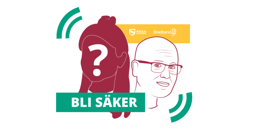 Illustration av IT-säkerhetsexperten Karl Emil Nikka och ett ansikte med frågetecken över, föreställande en hemlig gäst i podden.