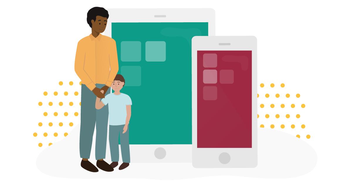 Illustration av en man och ett barn som håller varandra i handen och en illustrerad telefon och ipad i bakgrunden.
