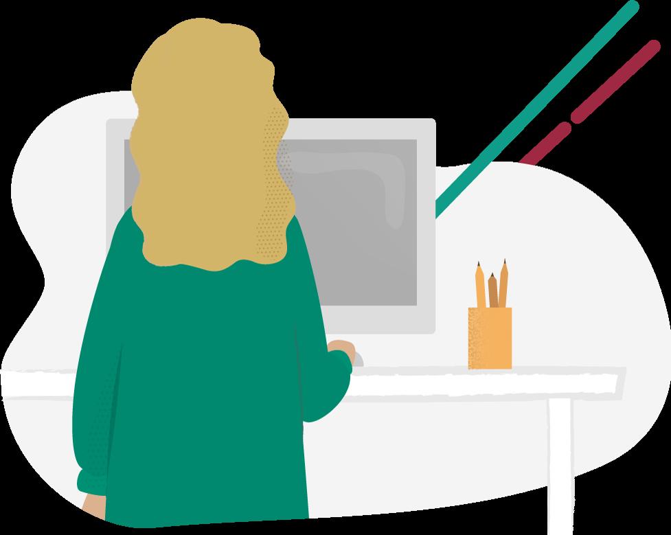 Illustration av en blond kvinna som står vid ett skrivbord och tittar på en dator. Ett grönt och ett rött streck kommer ut från datorn som ska symbolisera redundans.