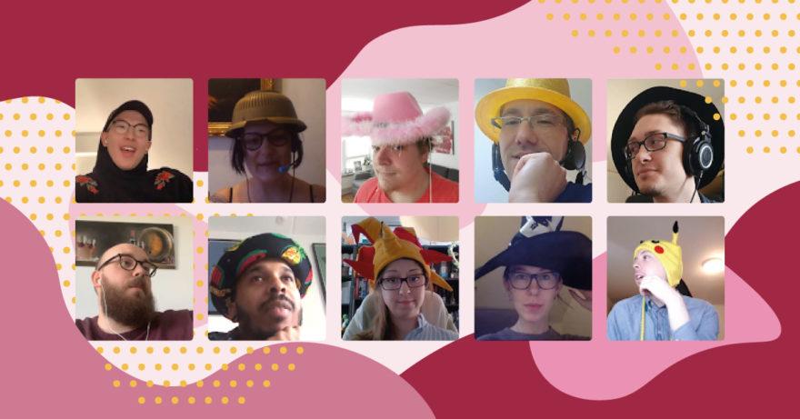 Fotografi på kundtjänstmedarbetare som har olika hattar på sig.