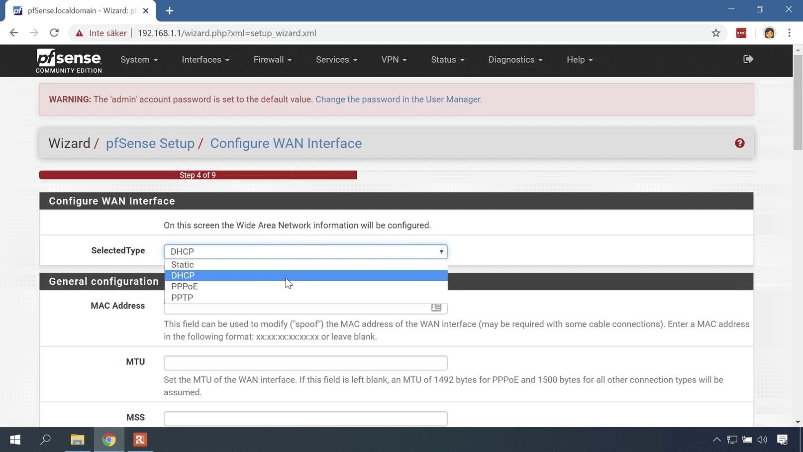 Konfigurationsguiden för pfSense
