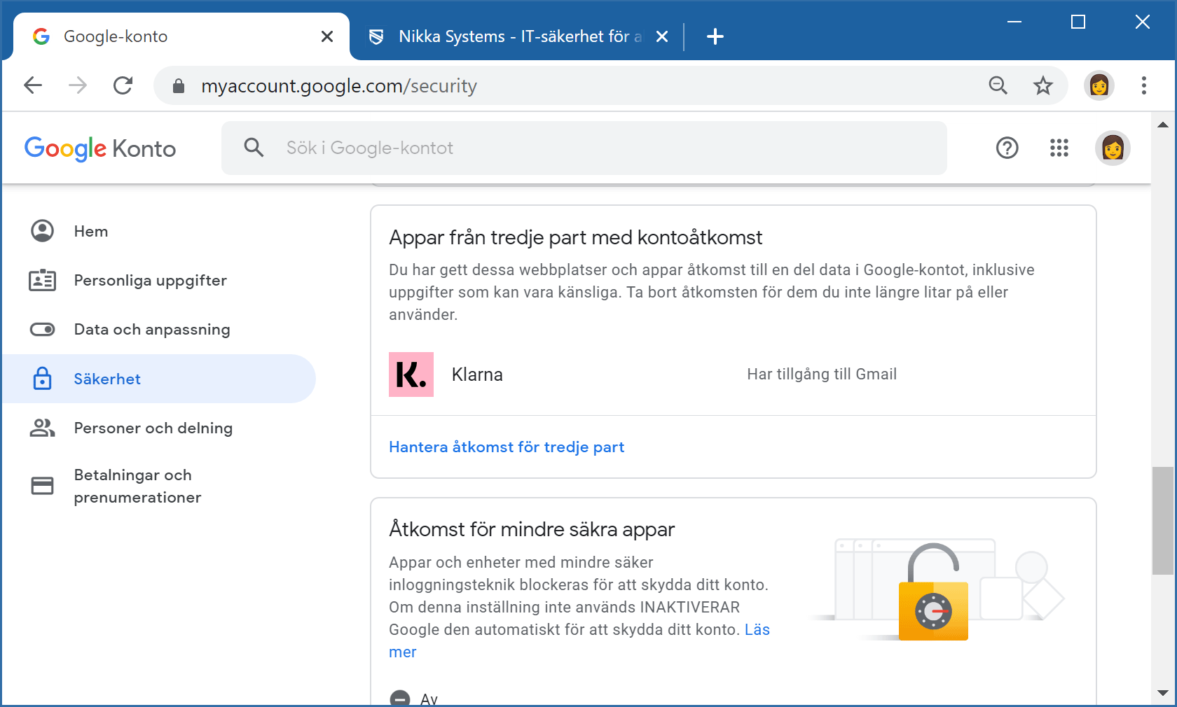 En skärmbild på hur du se vilka tredjepartsappar som har åtkomst till din Gmail