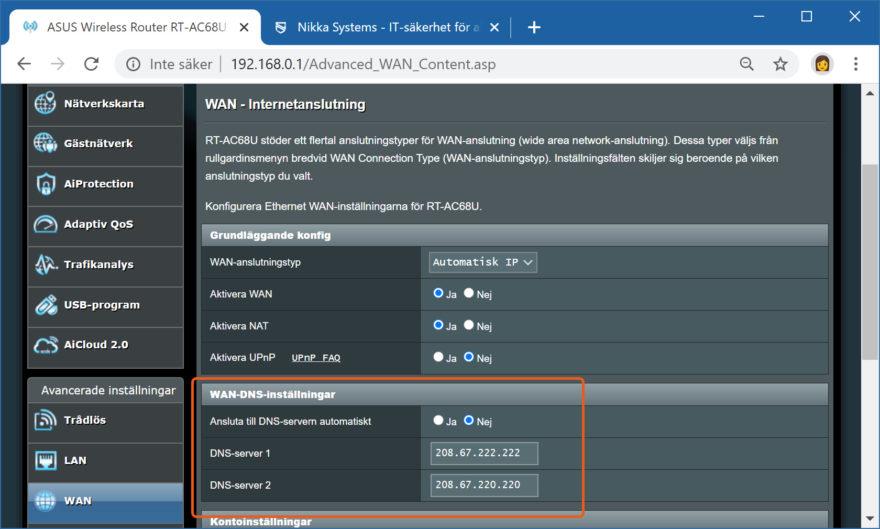 Skärmdump på att lägga in Umbrella DNS-server på en asus router