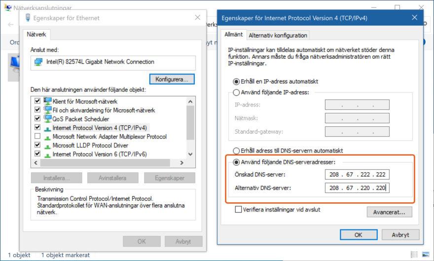 skärmpdump på hur du konfigurerar Umbrella DNS-skydd i Windows