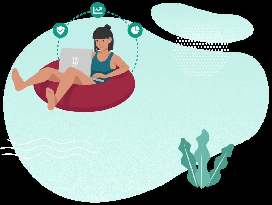 Illustration med en person som sitter i en badring och jobbar på sin dator. Bilden symboliserar IT-säkerhet som ger företaget bättre flyt i vardagen.