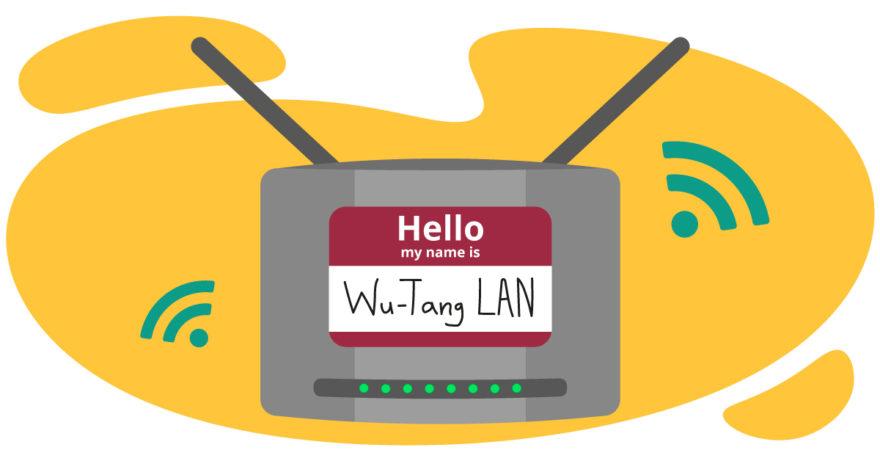 """Bilden är en illustration av en router som har en namnskylt där det står """"Wu-Tang LAN"""". I bakgrunden finns en gul form och några gröna WiFi-symboler. Den illustrerar hur man kan byta namn på sitt trådlösa nätverk."""